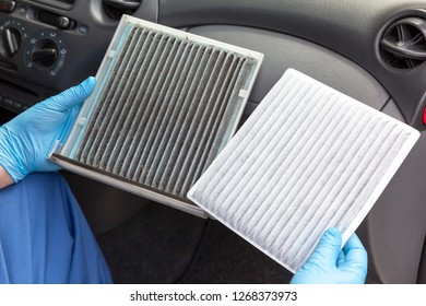 Dirty and clean cabin pollen air filter for a car