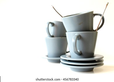 dirty coffee cup on white background