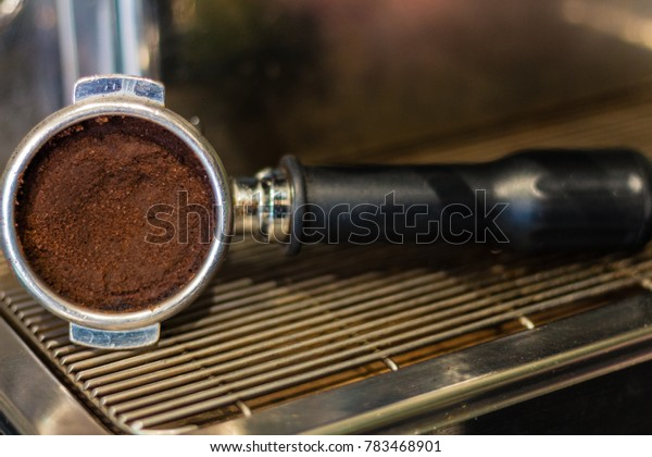 Dirty coffee portafilter.