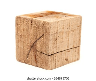 dirty and cracked wood cube, driftwood, isolated on white