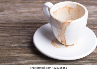 Dirty cup after drinking coffee