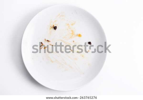 Dirty dish on background,top view