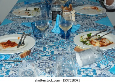 Dirty dishes on the table after lunch