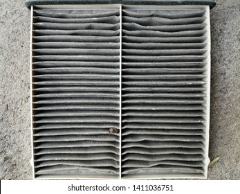 Dirty and dusty air filter used in vehicle air conditioning system. It captured fine dust and particulate matter in the air and help preventing helth risks especially respiratory system.