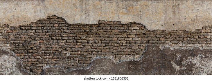 Dirty eroded cracked plaster fence panoramic scene. Destroyed crumbling cement mortar texture farm. Chipped structure stone facade.Textured uneven surface for 3D loft interior design castle fortress