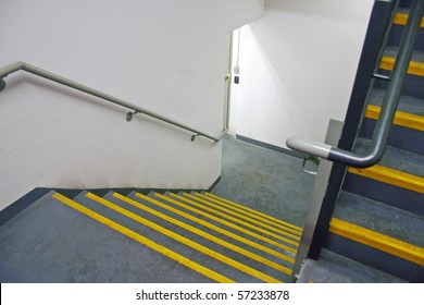 A dirty fire stairway in a modern building.