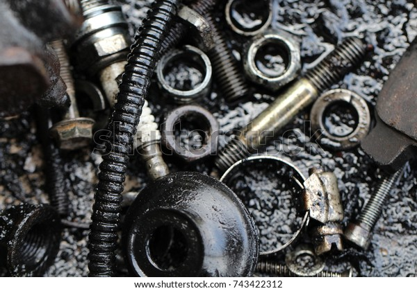 Dirty Garages Tool Wallpaper Background Garage Stock Photo