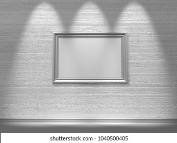 Dirty grunge wall with empty frame. 3d illustration