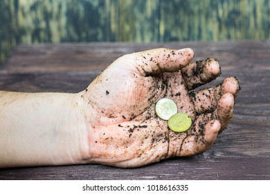 In the dirty hand of a coin