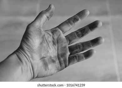 Dirty hand of female, black and white picture,dirty hands are better than dirty hearts,concept.