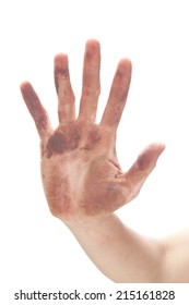 Dirty hand Isolated On White Background. Messy palm in clay.