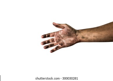 dirty hand isolated on a white background