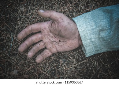 dirty hand of a slain man in the forest