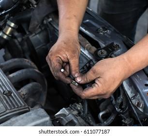 Dirty Hands Fix Car Engine, Garage Mechanic