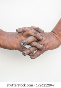 Dirty hands showing gestures on a white background