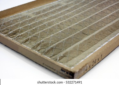 Dirty home air conditioner filter. Horizontal.