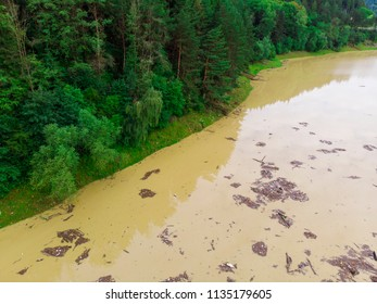 dirty lake water after the flood. Romania