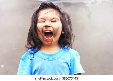 Dirty latin kid screaming
