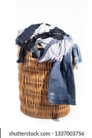 Dirty laundry in wicker hamper