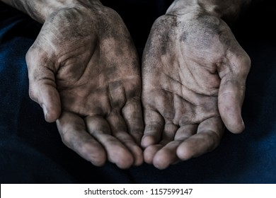 dirty male hands close up