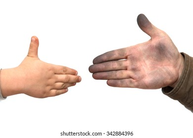 dirty man's hand with a child's hand on a white background