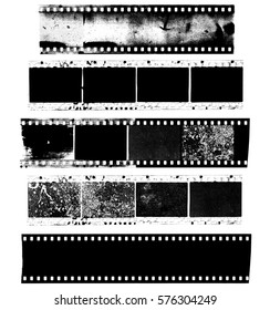 Dirty, messy and damaged strip of celluloid film on white background