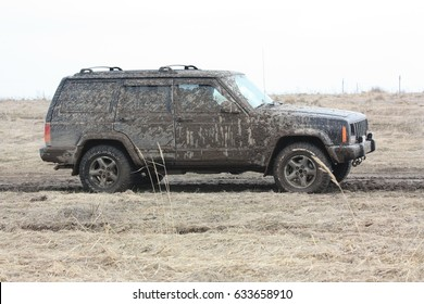 Dirty offroad car. A trip to the nature, off-road. Russia, the Ryazan Region. April 7, 2017