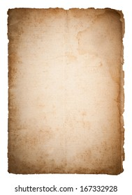 Dirty old paper isolated on white background