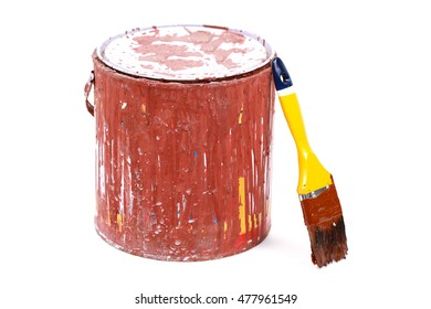 dirty paint brushes and buckets of wood coating isolated on white background,clipping path