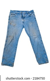 Dirty pair of blue jeans after a day or work outdoors