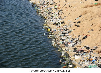 Dirty polluted beach, Kalmunai Sri Lanka