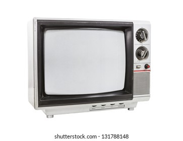 Dirty portable television isolated with and clipping path.