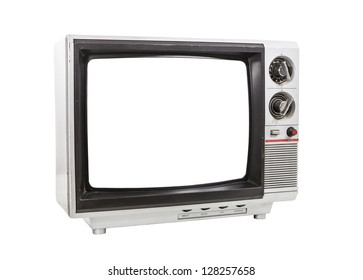 Dirty portable television isolated with cut out screen and clipping path.