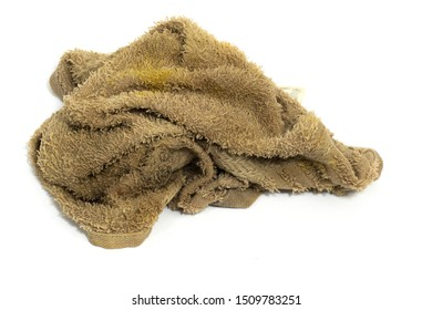 Dirty rag isolated on white background.