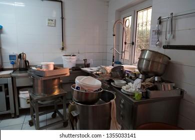 dirty restaurant kitchen view.