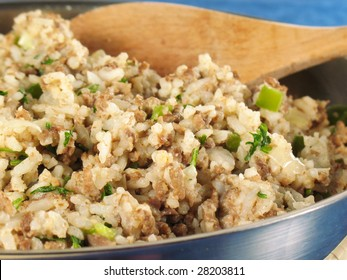 Dirty rice with ground beef and gizzards.
