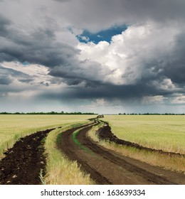 dirty road in field and dramatic sky. rain before