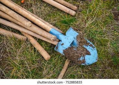 Dirty shovels after hard work