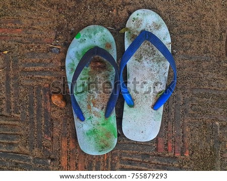 d8f92d8cb Dirty Slipper On Ground Top View Stock Photo (Edit Now) 755879293 ...