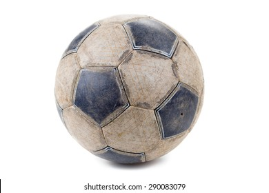 Dirty Soccer ball isolated on white background