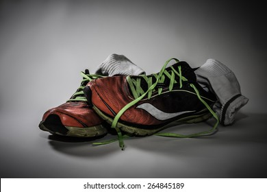 Dirty socks and sneakers: traps for bacteria that smell and can cause health issues for feet.