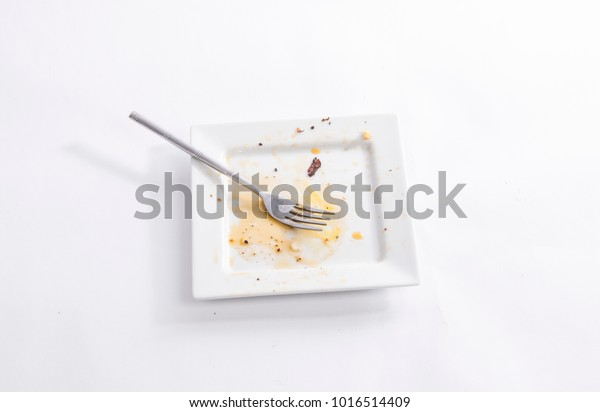 Dirty square plate with a fork