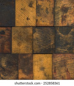 Dirty and stained colorful wooden printing blocks
