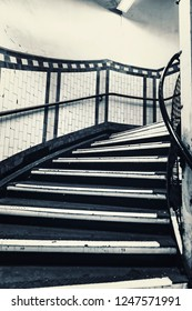 Dirty Stairs In Underground In London, Black and White Color, Britain