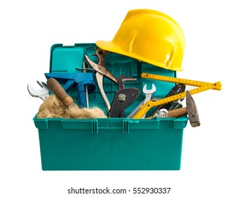 dirty toolbox with many tools on white background