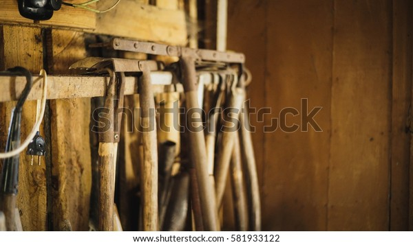 Dirty tools in a shed