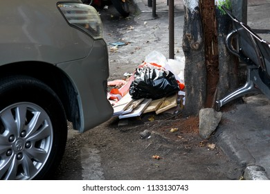 Dirty town by un-responsible person who throw the trash on the street