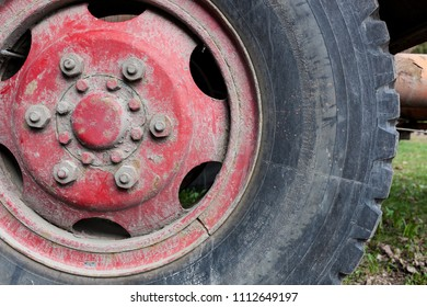 dirty tyre close-up view