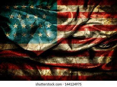 Dirty United states flag on silk background