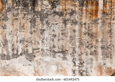 Dirty wall with broken cement plaster. Vintage surface texture. Background for loft style interior.